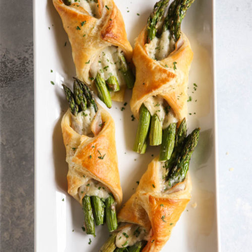 Asparagus pancetta puff pastry bundles make an easy but fancy appetizer!