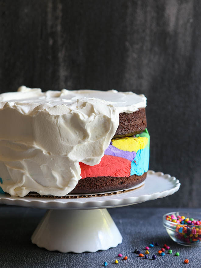 Fun and festive Chocolate Rainbow Ice Cream Cake!