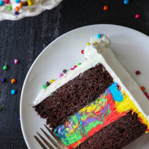 Fun and festive Chocolate Rainbow Ice Cream Cake!