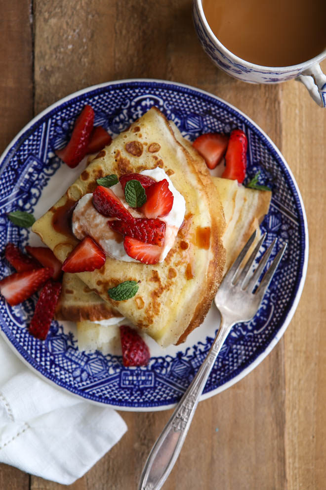 Crepes with balsamic strawberries and mascarpone cream make a fancy but easy brunch meal