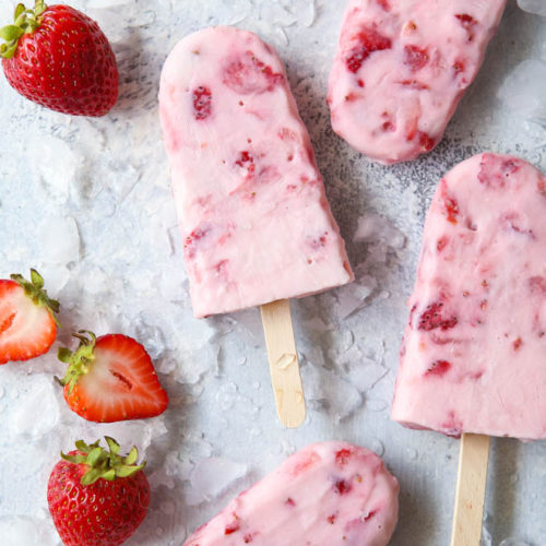 Simple 4 Ingredient Roasted Strawberry Yogurt Pops