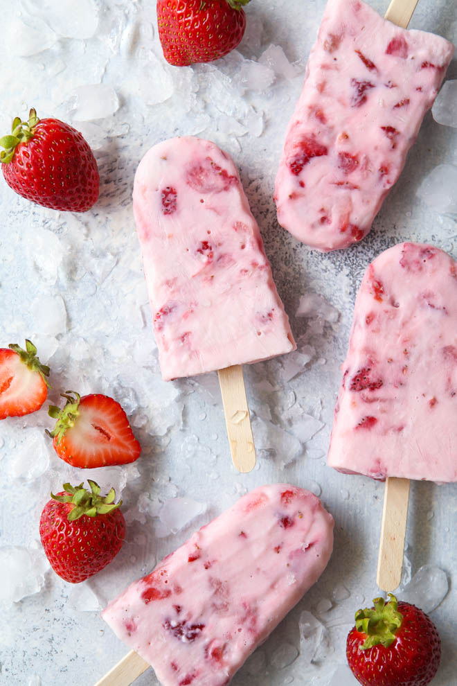 Roasted Strawberry Yogurt Ice Pops Completely Delicious