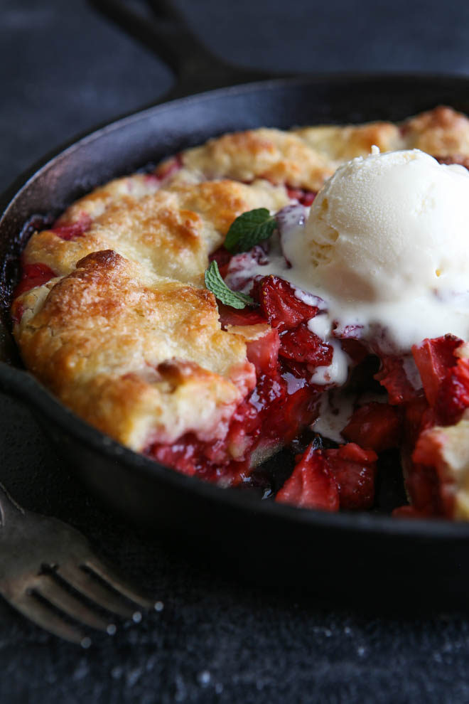 Serve slices of this easy strawberry skillet pie with whipped cream or ice cream