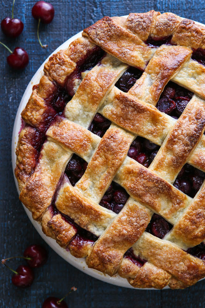Sweet cherries baked into a flaky buttermilk pie crust