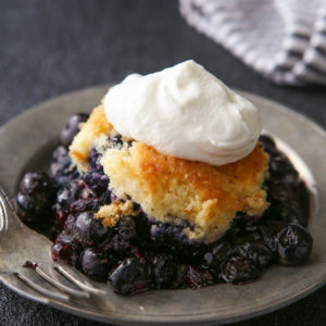 Easy dutch oven cobbler made with just 4 ingredients!