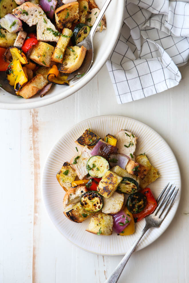 grilled chicken and vegetable panzanella salad from completelydelicious.com