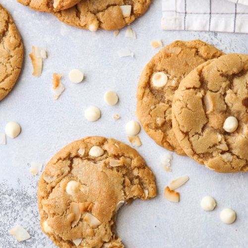 Toasted coconut and white chocolate chip cookies