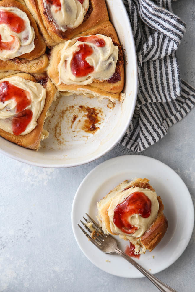 Change up your routine with these Peanut Butter and Jam Sweet Rolls