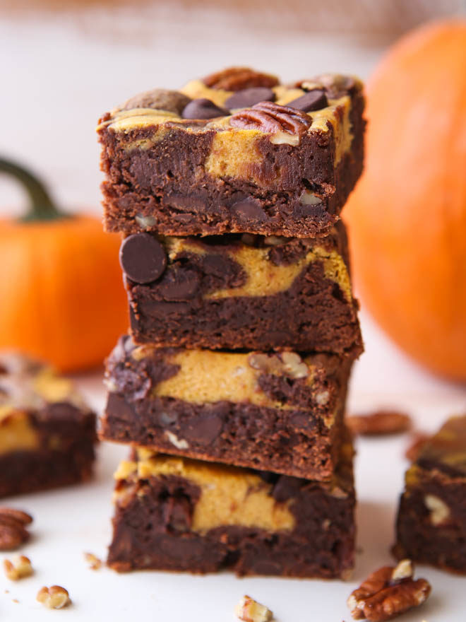 Pumpkin cheesecake swirl brownies from completelydelicious.com