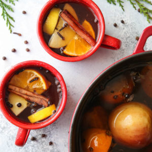 Boozy hot wassail made the traditional way!