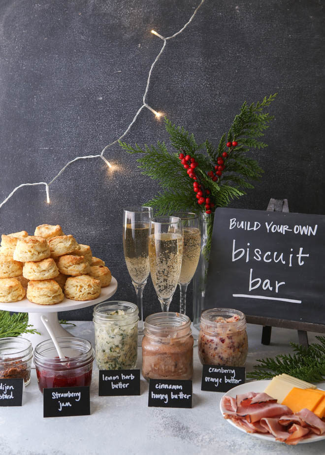 Cream cheese biscuits and a fun holiday brunch bar!