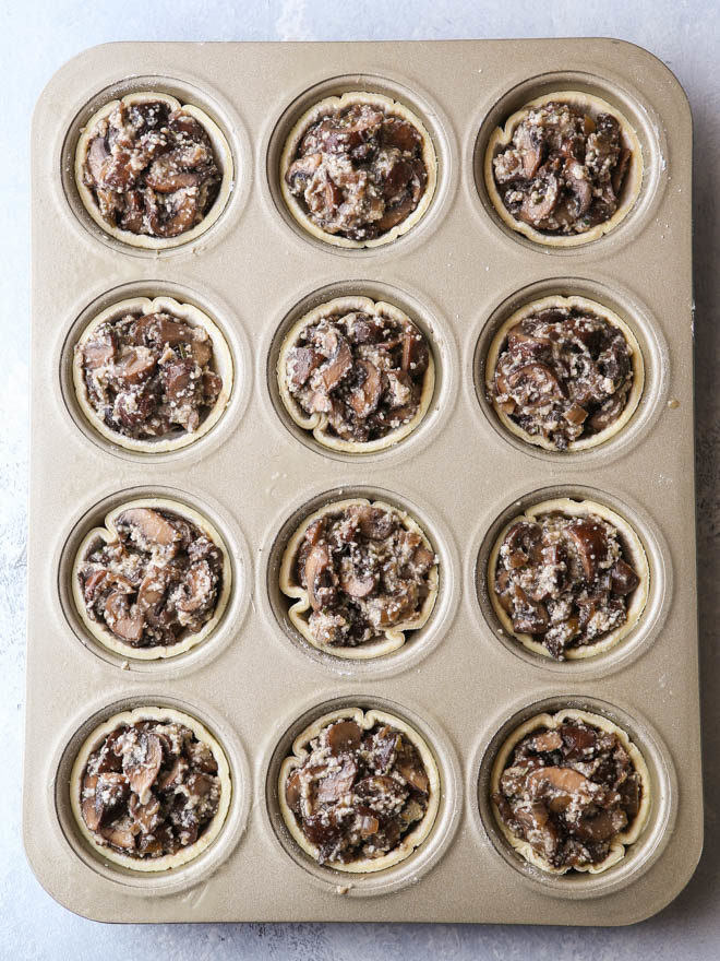 Easy mini mushroom tarts are the perfect winter appetizer!