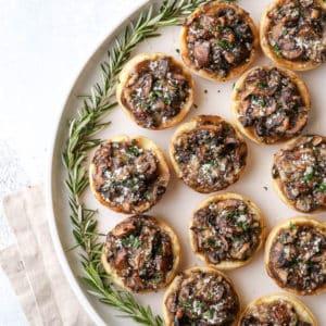 Easy mini mushroom tarts are the perfect winter appetizer!