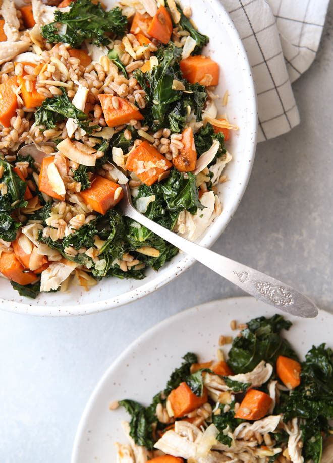 This farro bowl with chicken, kale and sweet potatoes is one of my favorite healthy meals!