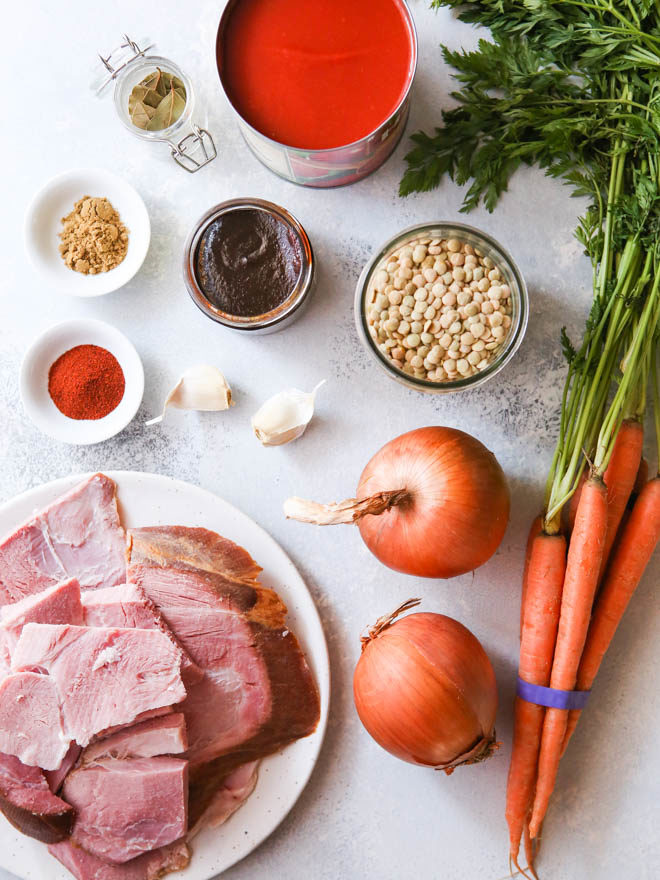 ingredients for ham lentil soup