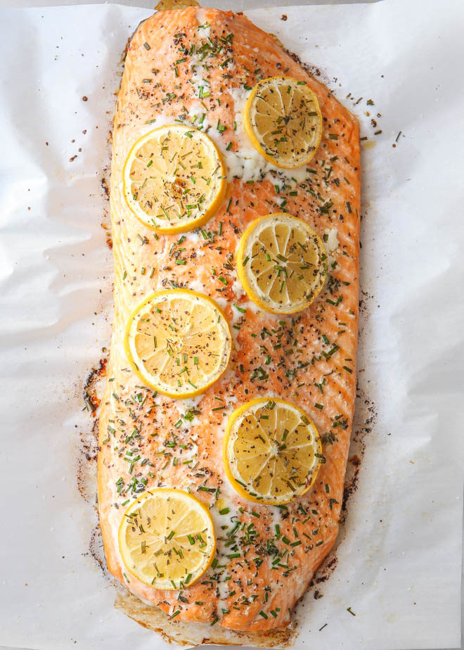 Simplest 5-ingredient lemon-herb roasted salmon from completelydelicious.com