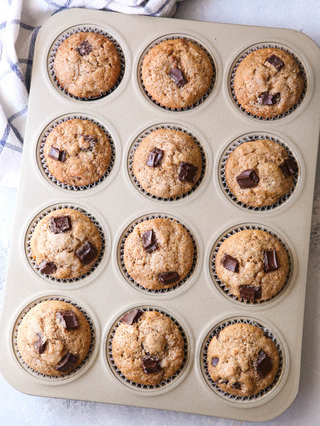 Whole Wheat Banana Muffins with Chocolate Chunks