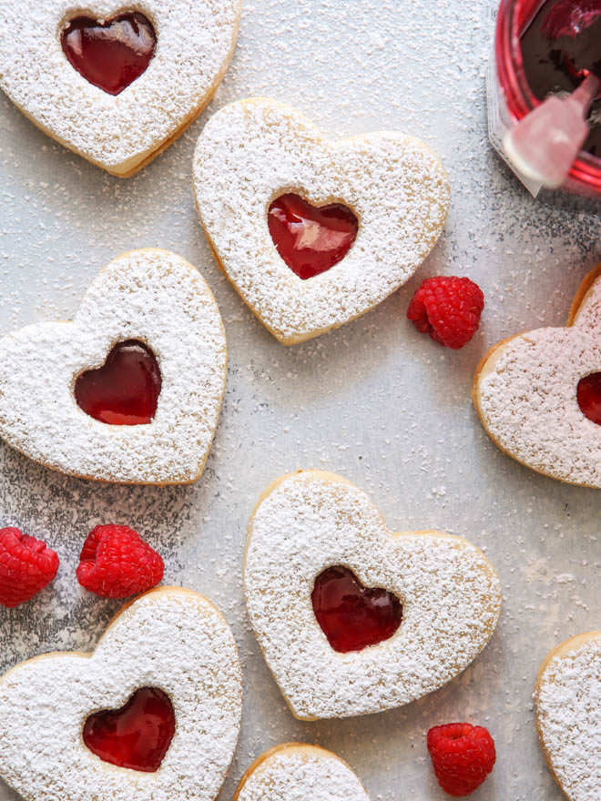 Raspberry Almond Linzer Cookies - Completely Delicious