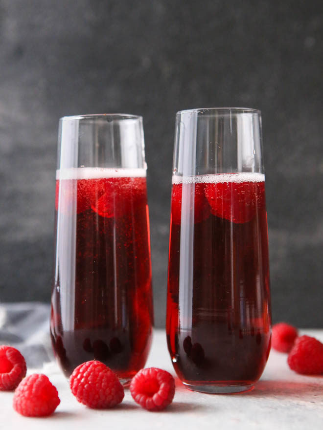 Sparkling raspberry rose cocktails