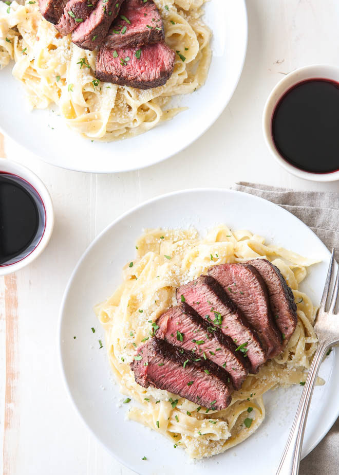 Steak Fettuccine Alfredo for two!