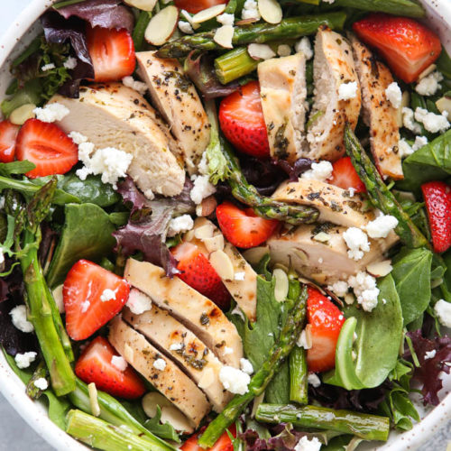 This strawberry asparagus salad with chicken is light and healthy and perfect for spring!