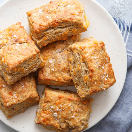 These hearty whole wheat cheddar biscuits make a great addition to any meal!