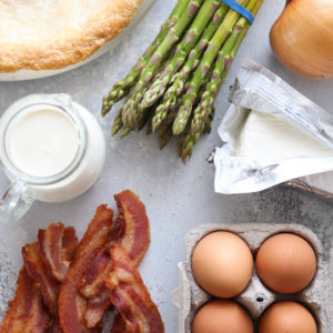 ingredients needed for bacon, asparagus and cream cheese quiche