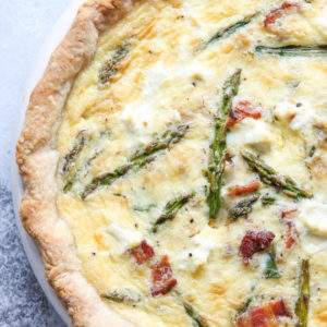 Bacon, asparagus and cream cheese quiche is full of flavor