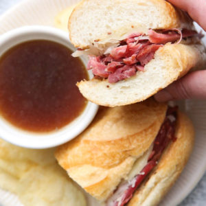 Corned beef french dip sandwiches all ready to enjoy