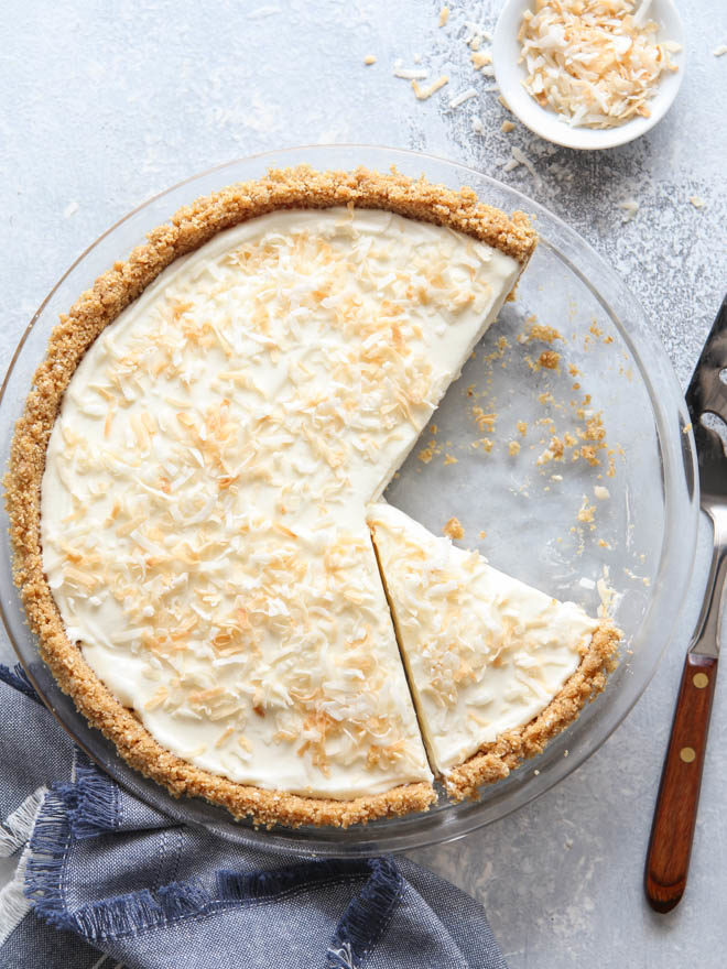 The dreamiest no-bake coconut cream pie, ready for slicing
