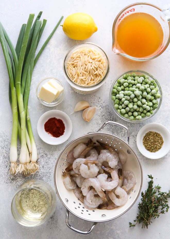 Ingredients for shrimp and pea orzo