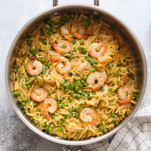 One-pot shrimp and pea orzo