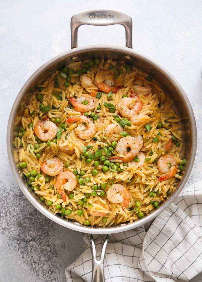 One Pot Shrimp And Pea Orzo Completely Delicious