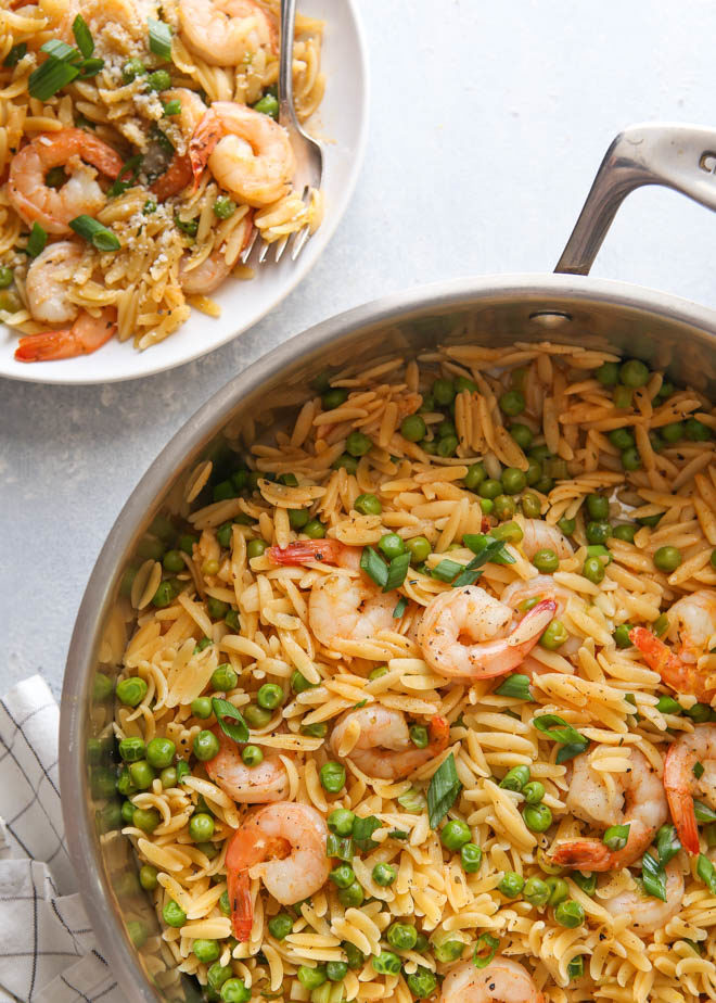 serving up shrimp and pea orzo