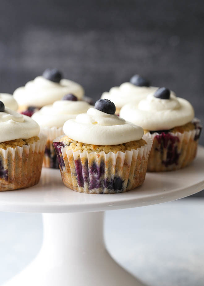 Blueberry muffin cupcakes with lemon cream cheese frosting