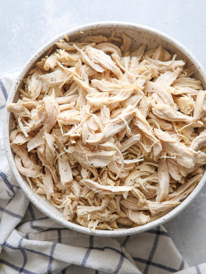 Easy cooked shredded chicken to make cooking easier!