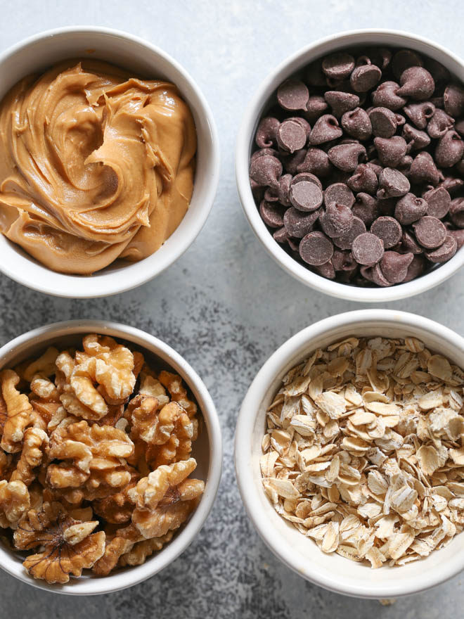 Peanut butter, chocolate chips, oats and walnuts