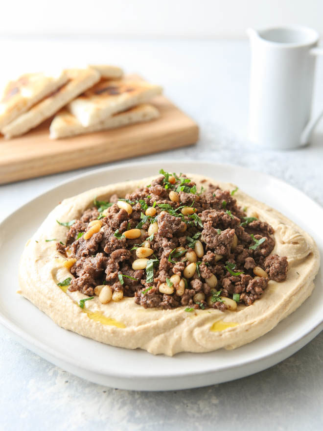 Hummus with spiced beef and pine nuts makes a great appetizer or light meal!
