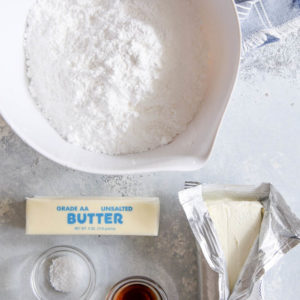 Ingredients for the creamiest cream cheese buttercream frosting