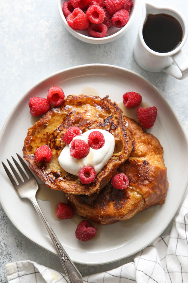 Rich and luxurious croissant french toast