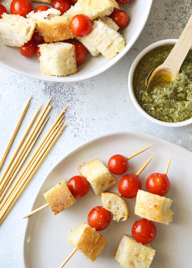 Prepping easy bruschetta skewers for the grill
