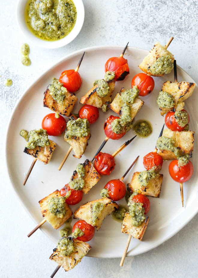 These grilled bruschetta skewers with ricotta pesto are an easy summer appetizer!