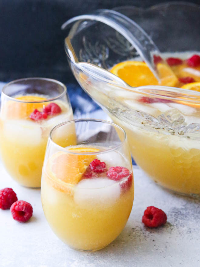 This big batch of mimosas served in a punch bowl is perfect for a brunch party!