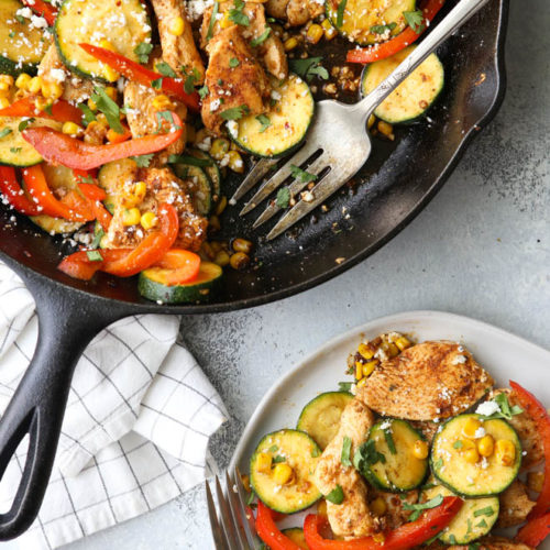 This southwest chicken skillet with zucchini, bell peppers, and corn is a delicious and healthy summer meal!