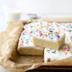 These soft sugar cookie bars with buttercream frosting are the perfect treats for a crowd!