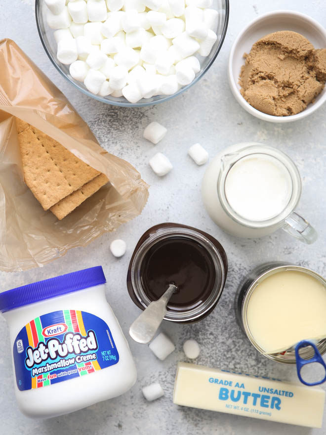 All the ingredients for s'mores ice cream pie