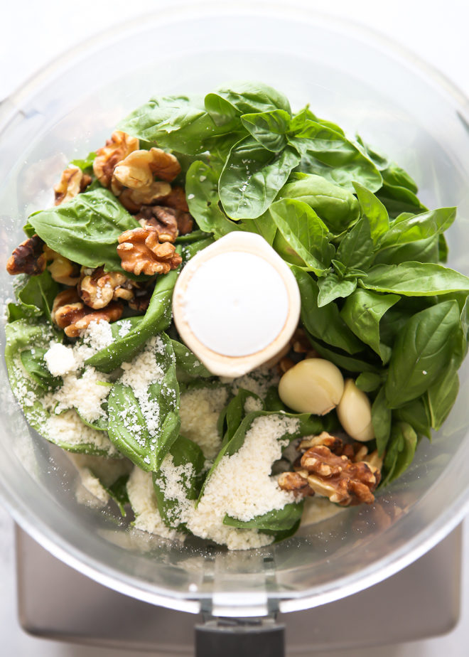 Making basil walnut pesto