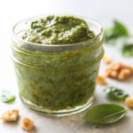 Basil walnut pesto is a great addition to meat, veggies, salads, pastas and more!