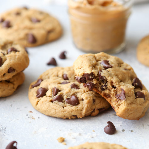 Thick and soft chocolate chip peanut butter cookies are a fun treat!