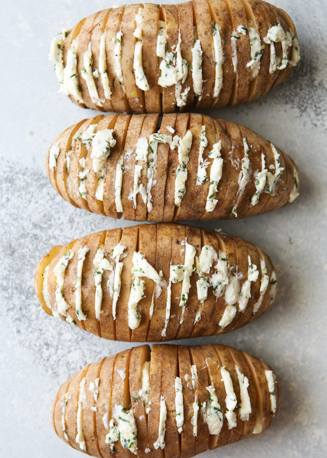 Hasselback potatoes with chive butter